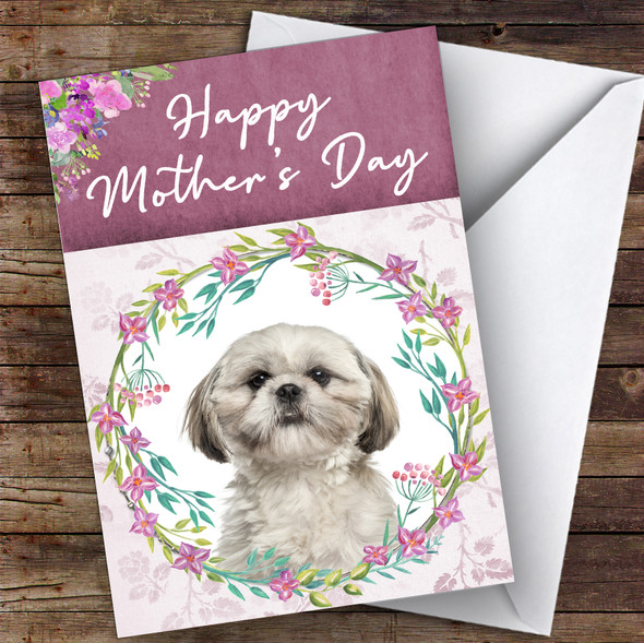 Shih Tzu Dog Traditional Animal Personalised Mother's Day Card