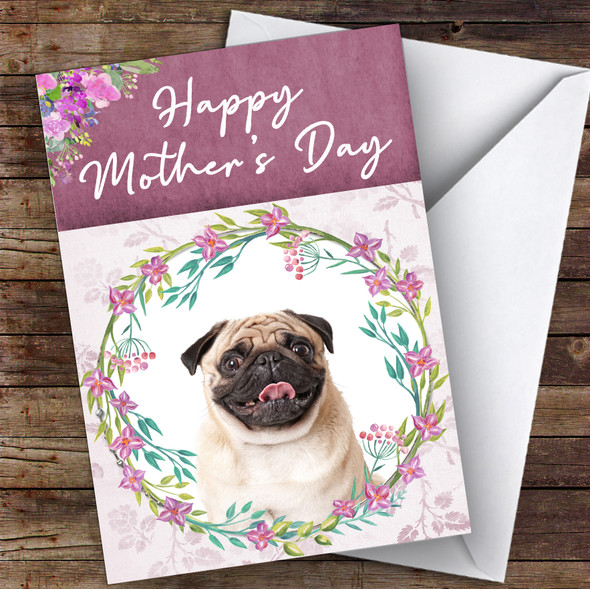 Pug Dog Traditional Animal Personalised Mother's Day Card