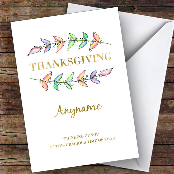 Thanksgiving Beautiful Watercolour Leaves Personalised Happy Thanksgiving Card