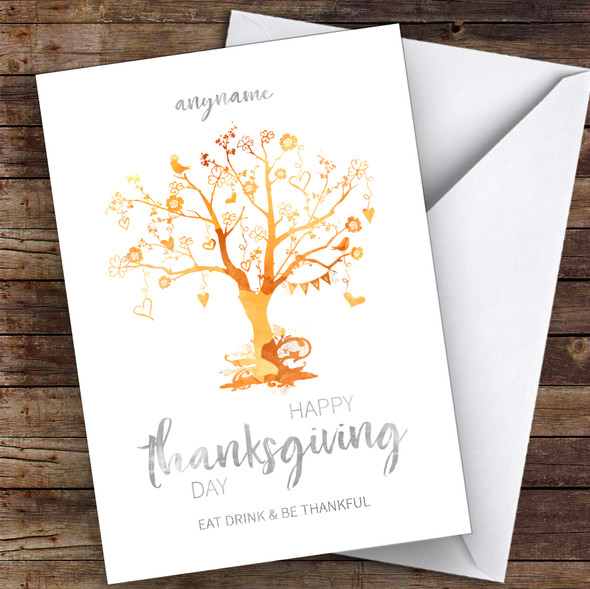 Beautiful Tree Eat Drink Thankful Orange Personalised Happy Thanksgiving Card