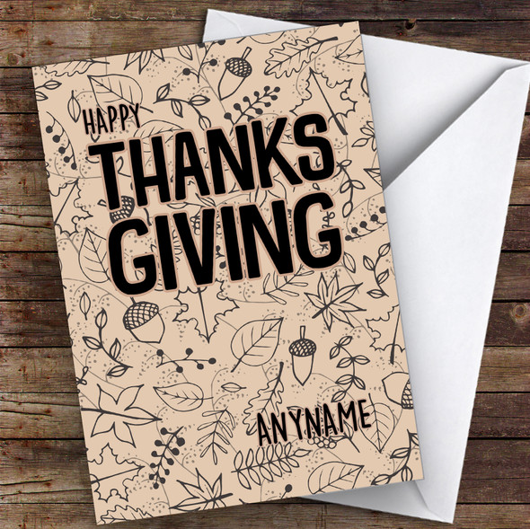 Patterned Cardboard Autumn Sketch Style Personalised Happy Thanksgiving Card