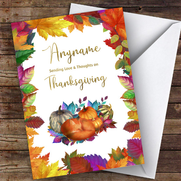 Thanksgiving Beautiful Squashes & Fox Personalised Happy Thanksgiving Card