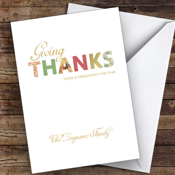 Patterned Text Giving Thanks Family Personalised Happy Thanksgiving Card