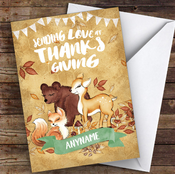 Cute Woodland Animals Sending Love Personalised Happy Thanksgiving Card
