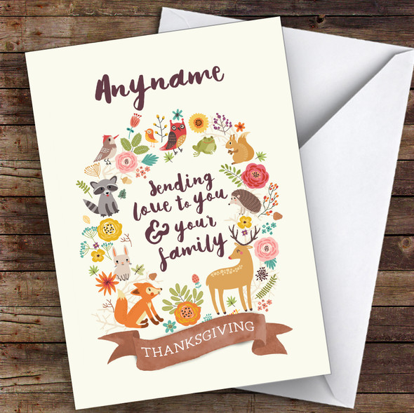 Beautiful Woodland Animals Wreath Personalised Happy Thanksgiving Card