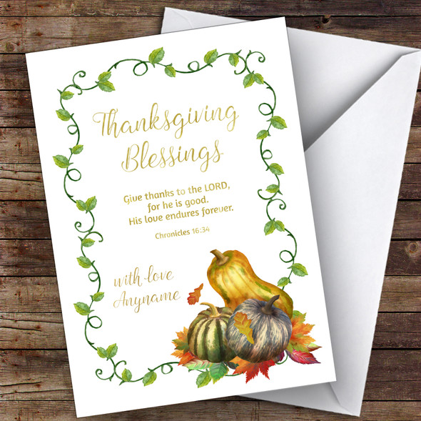 Thanksgiving Blessings & Squashes Personalised Happy Thanksgiving Card