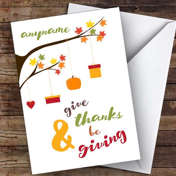 Thanksgiving Hanging Branches Personalised Happy Thanksgiving Card