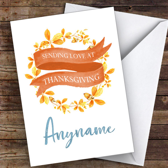 Beautiful Autumn Wreath Personalised Happy Thanksgiving Card