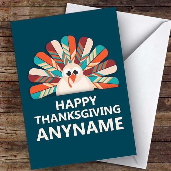 Teal Autumn Turkey Personalised Happy Thanksgiving Card