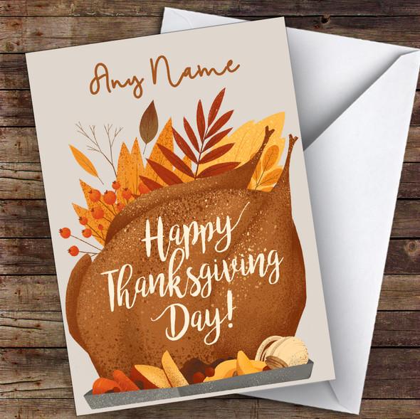 Roast & Leaves Personalised Happy Thanksgiving Card