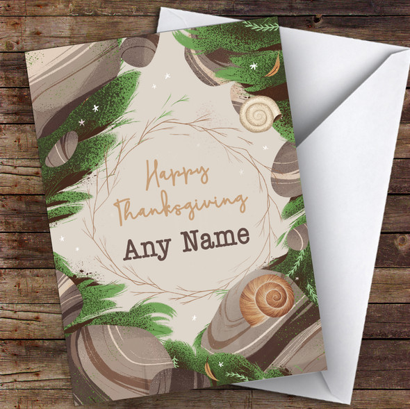Autumn Snails Personalised Happy Thanksgiving Card