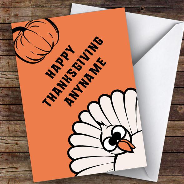 Bright Orange Personalised Happy Thanksgiving Card