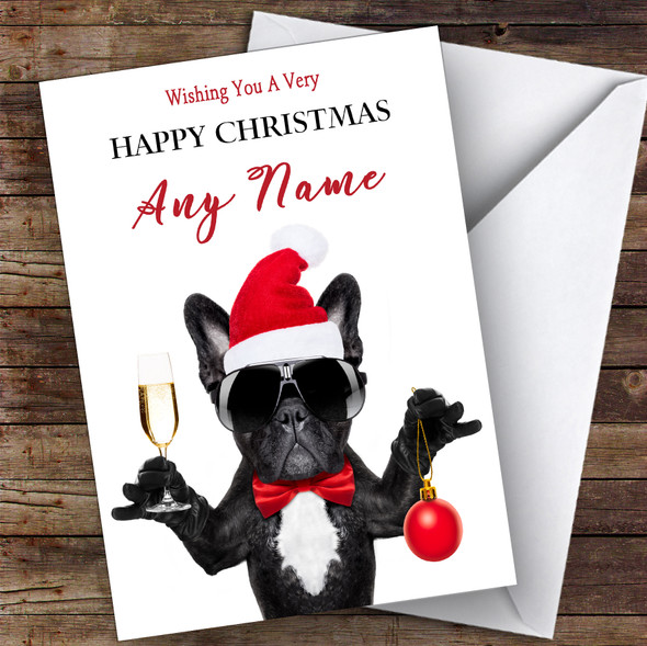 Funny Cool French Bulldog Champagne Animal Personalised Christmas Card