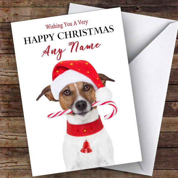 Jack Russell Terrier Dog Candy Cane Animal Personalised Christmas Card