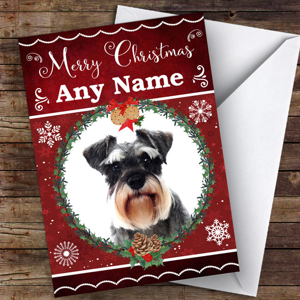 Miniature Schnauzer Dog Traditional Animal Personalised Christmas Card