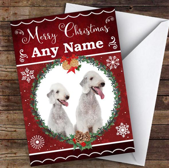 Bedlington Terrier Dog Traditional Animal Personalised Christmas Card
