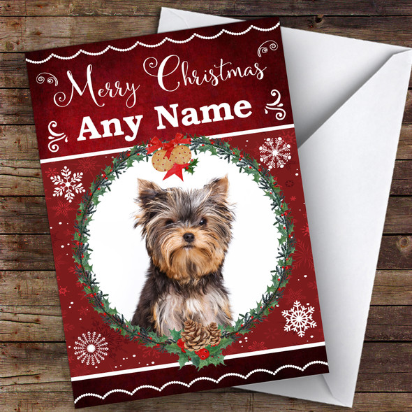Yorkshire Terrier Dog Traditional Animal Personalised Christmas Card