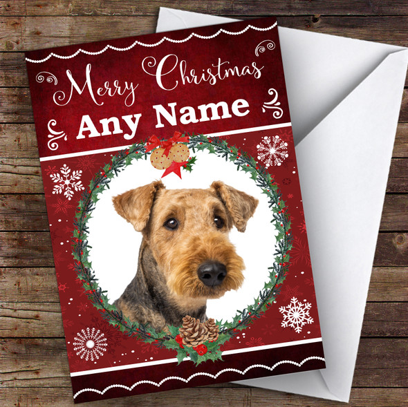 Airedale Terrier Dog Traditional Animal Personalised Christmas Card
