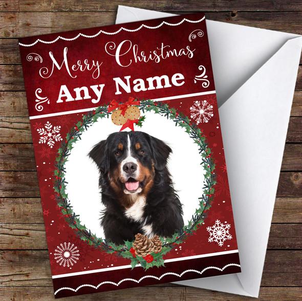 Bernese Mountain Dog Traditional Animal Personalised Christmas Card