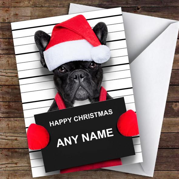 Naughty French Bulldog Santa Hat Animal Personalised Christmas Card