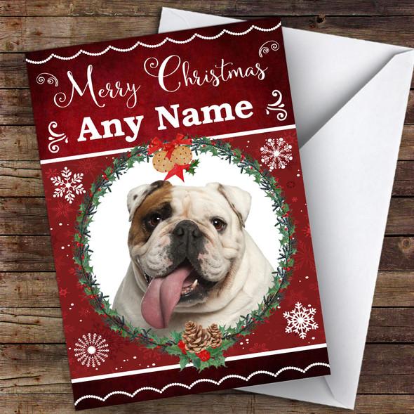 English Bulldog Dog Traditional Animal Personalised Christmas Card