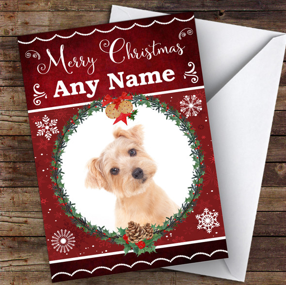 Norfolk Terrier Dog Traditional Animal Personalised Christmas Card
