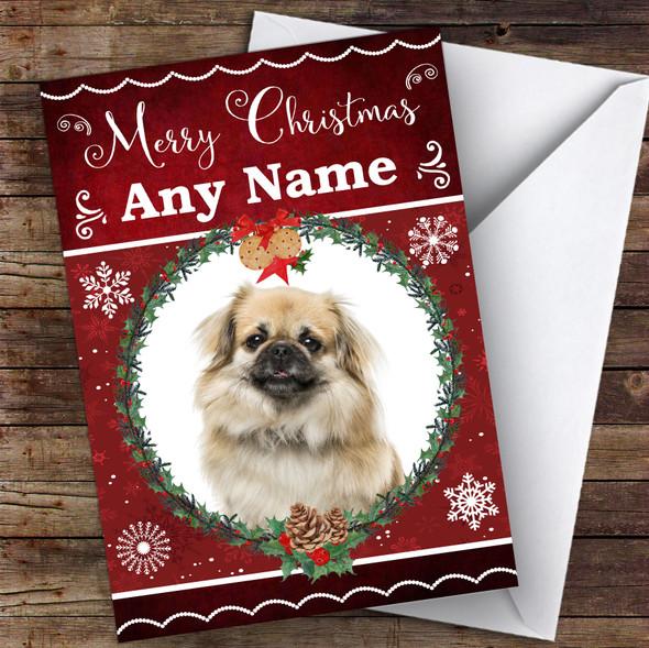 Tibetan Spaniel Dog Traditional Animal Personalised Christmas Card