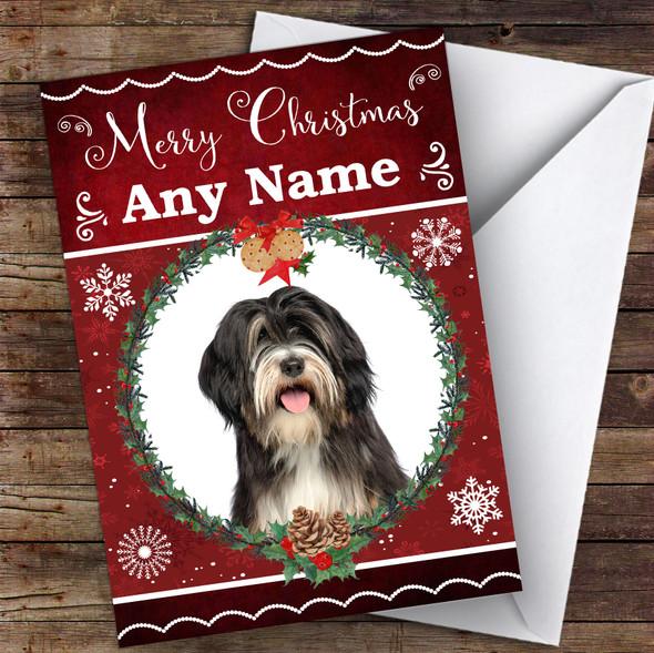 Tibetan Terrier Dog Traditional Animal Personalised Christmas Card