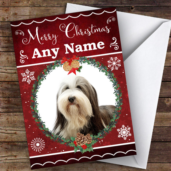 Bearded Collie Dog Traditional Animal Personalised Christmas Card