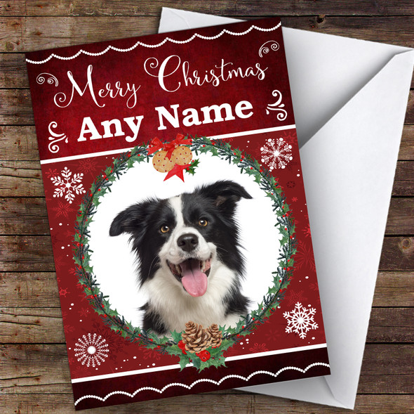 Border Collie Dog Traditional Animal Personalised Christmas Card