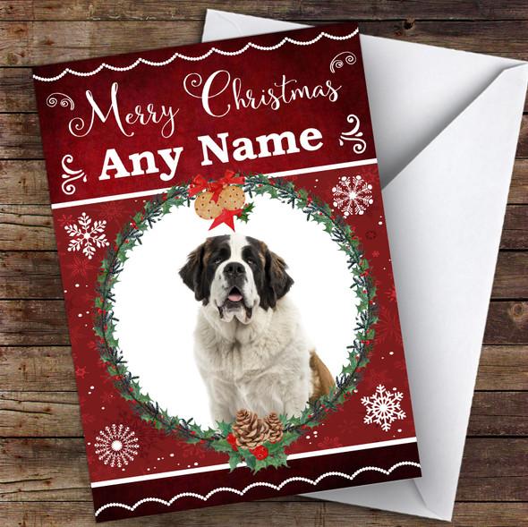 Saint Bernard Dog Traditional Animal Personalised Christmas Card