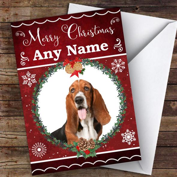 Basset Hound Dog Traditional Animal Personalised Christmas Card