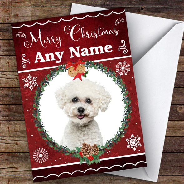 Bichon Frise Dog Traditional Animal Personalised Christmas Card