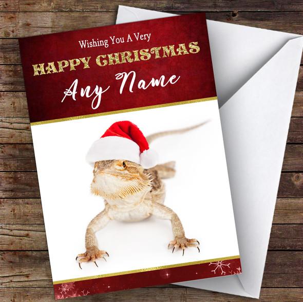 Bearded Dragon In Santa Hat Animal Personalised Christmas Card