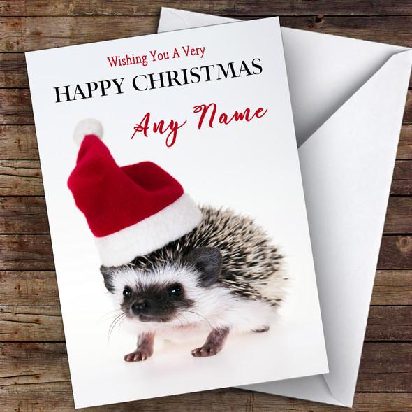 Baby Hedgehog In Santa Hat Animal Personalised Christmas Card