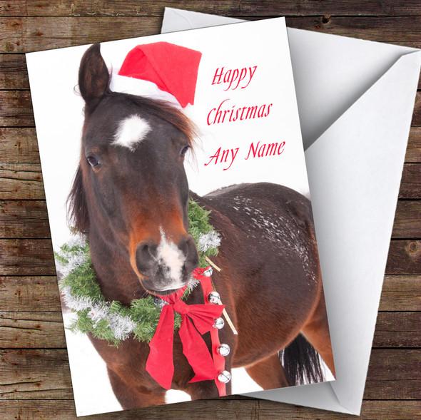 Horse In Scarf & Santa Hat Animal Personalised Christmas Card