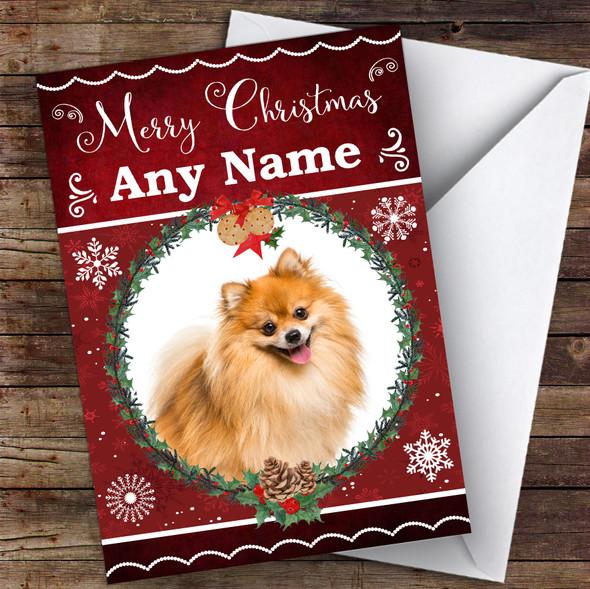 Pomeranian Dog Traditional Animal Personalised Christmas Card