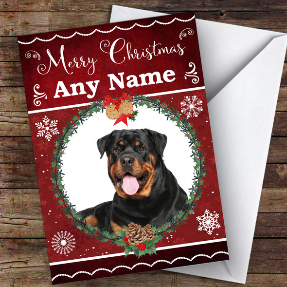 Rottweiler Dog Traditional Animal Personalised Christmas Card