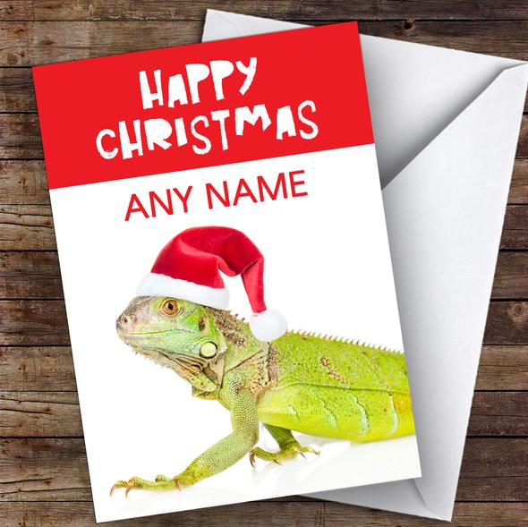 Green Lizard In Santa Hat Animal Personalised Christmas Card