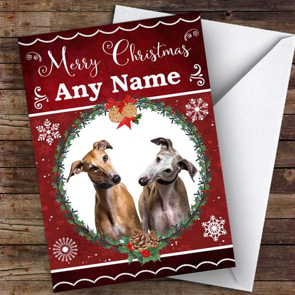 Greyhound Dog Traditional Animal Personalised Christmas Card