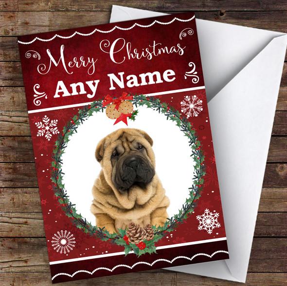Shar-Pei Dog Traditional Animal Personalised Christmas Card