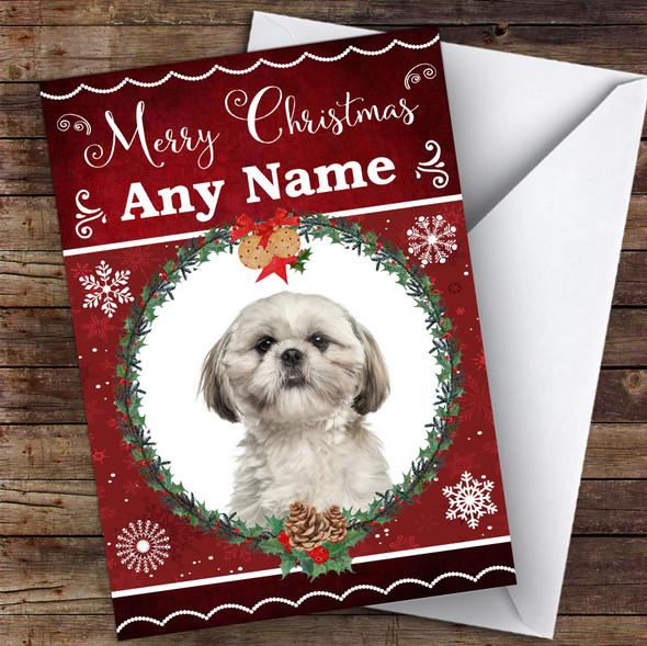 Shih Tzu Dog Traditional Animal Personalised Christmas Card