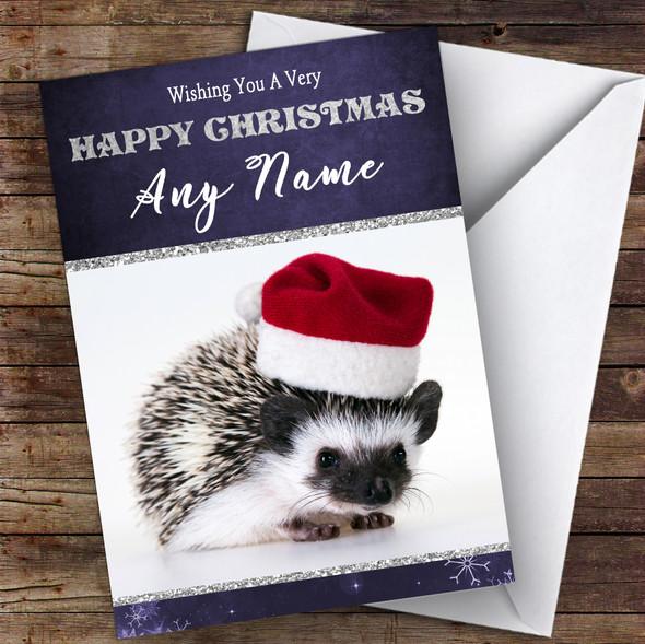 Baby Hedgehog Santa Hat Animal Personalised Christmas Card