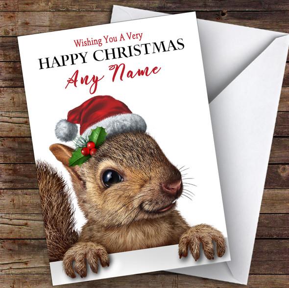 Peeking Squirrel In Hat Animal Personalised Christmas Card