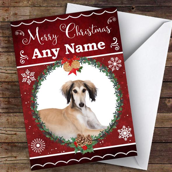 Saluki Dog Traditional Animal Personalised Christmas Card