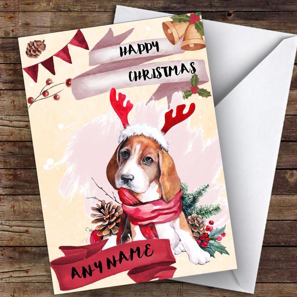 Watercolour Beagle Dog Animal Personalised Christmas Card