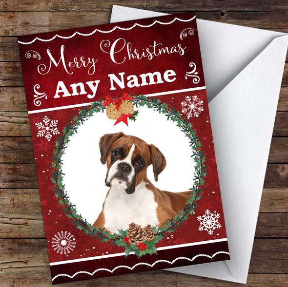 Boxer Dog Traditional Animal Personalised Christmas Card