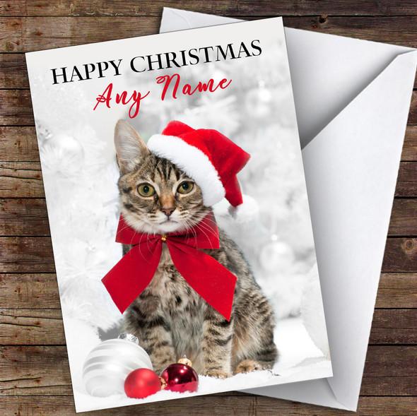 Cute Tabby Cat In Hat Animal Personalised Christmas Card