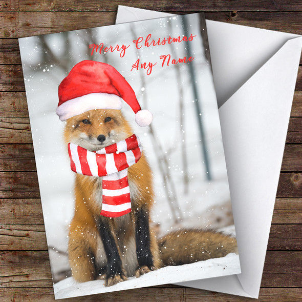 Red Fox In Hat & Snow Animal Personalised Christmas Card