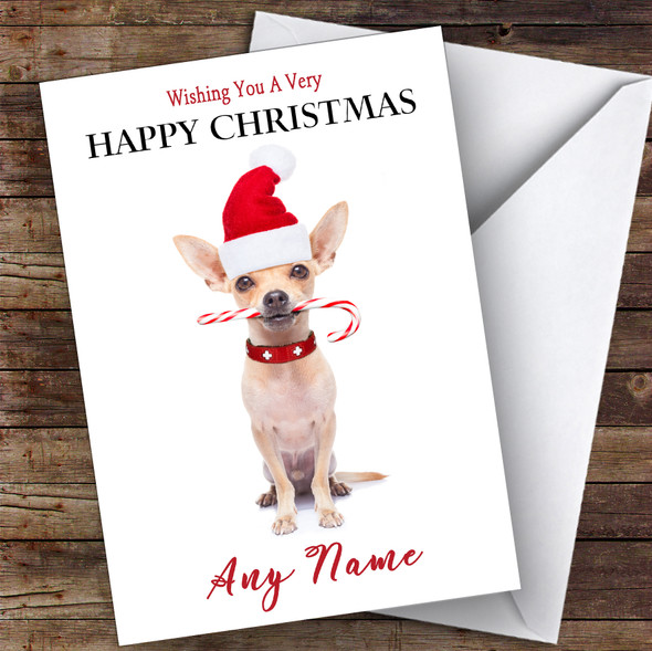 Chihuahua Candy Cane Animal Personalised Christmas Card